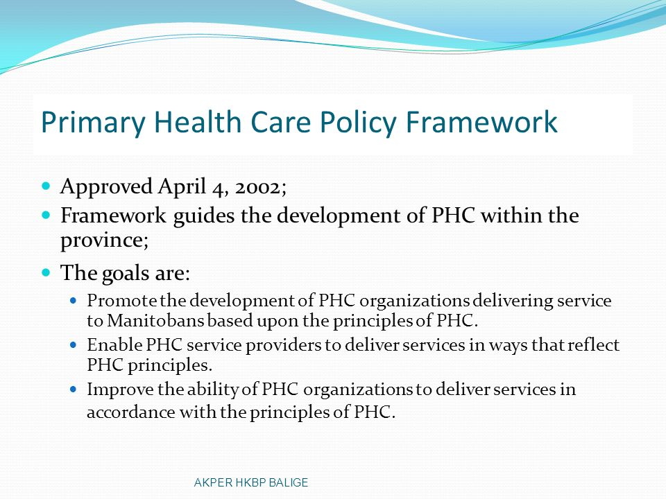 Primary Health Care Policy Framework