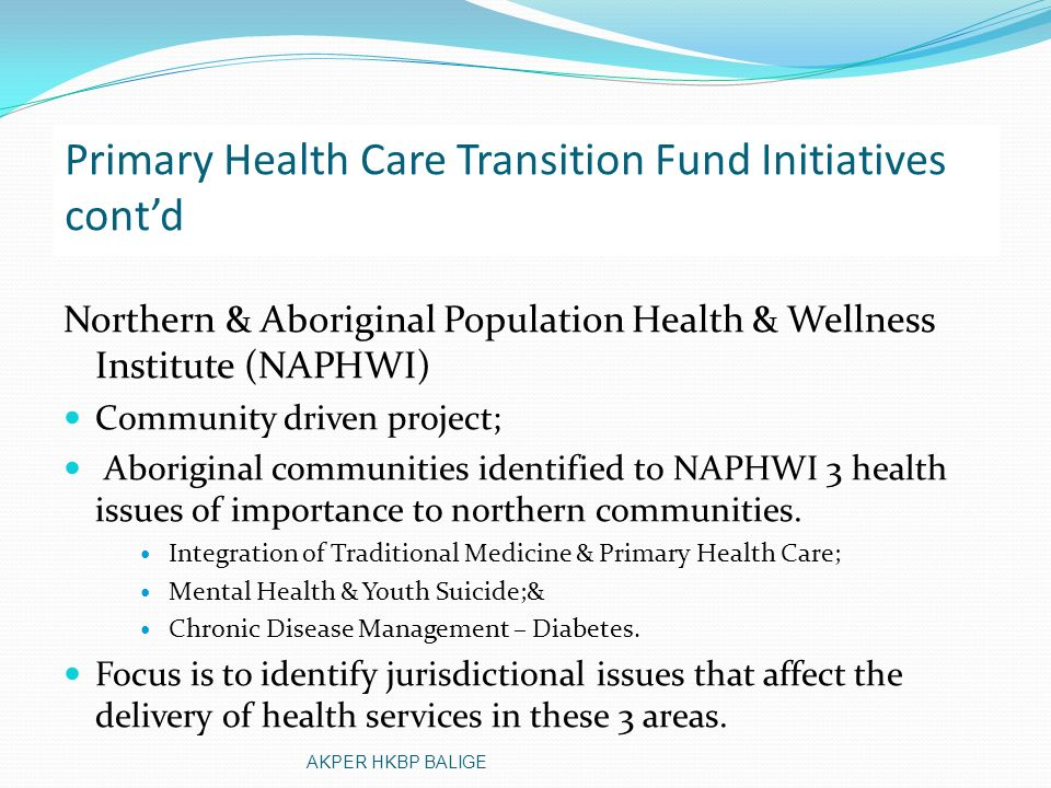 Primary Health Care Transition Fund Initiatives cont'd