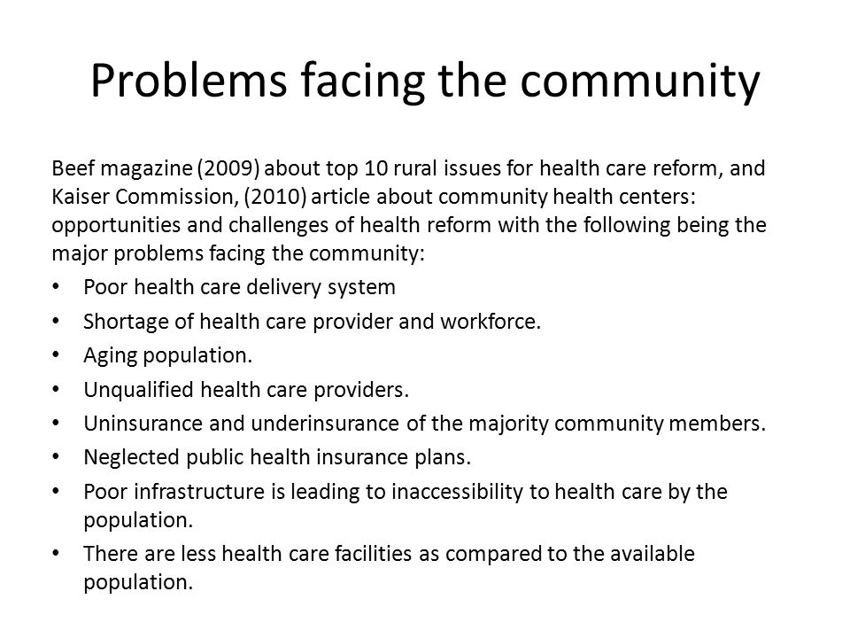 Problems Facing The Community And The Action Plan Ppt