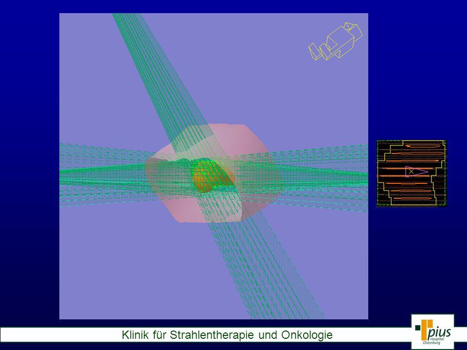 Der Computer kann dann die sogenannte Dosisverteilung anzeigen, also wieviel Prozent der verordneten Strahlung an welcher Stellen ankommt.Dies geschieht durch farbige Linien, die Bereiche eingrenzen, welche eine bestimmte Mindestdosis erhalten.