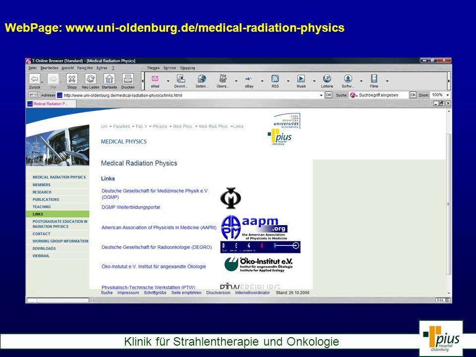 WebPage: www.uni-oldenburg.de/medical-radiation-physics
