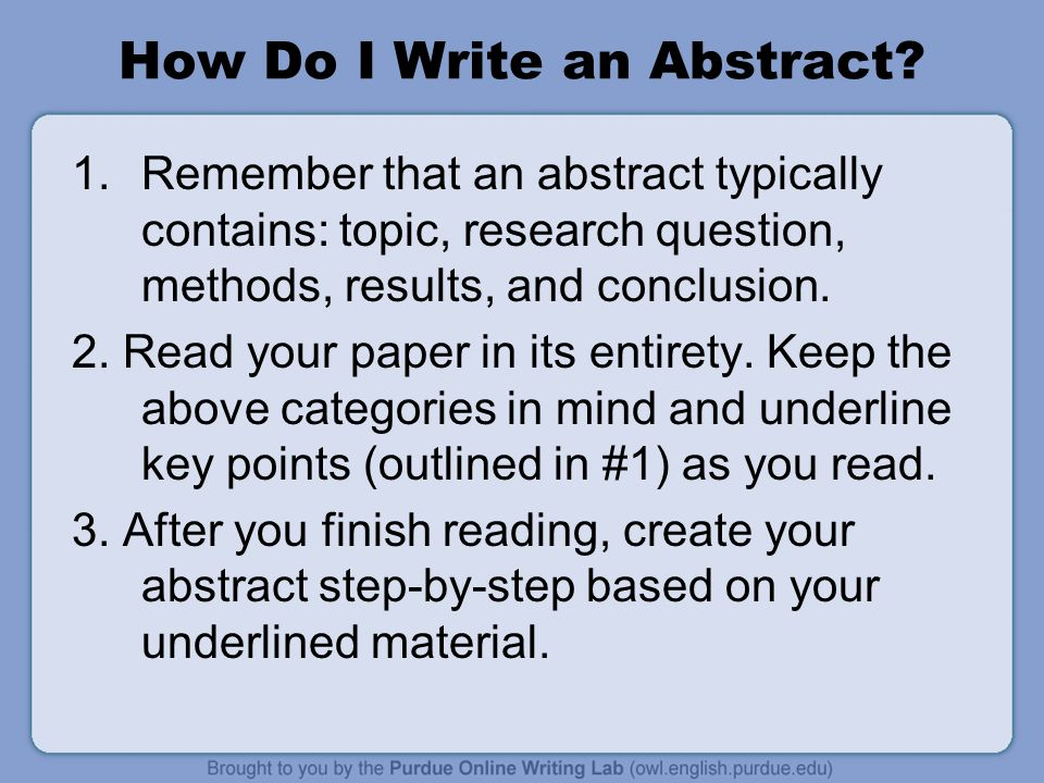 writing an abstract for a scientific research paper Writing research papers writing is easy  , recommended for other science courses that include writing)  the abstract is the only text in a research paper to .