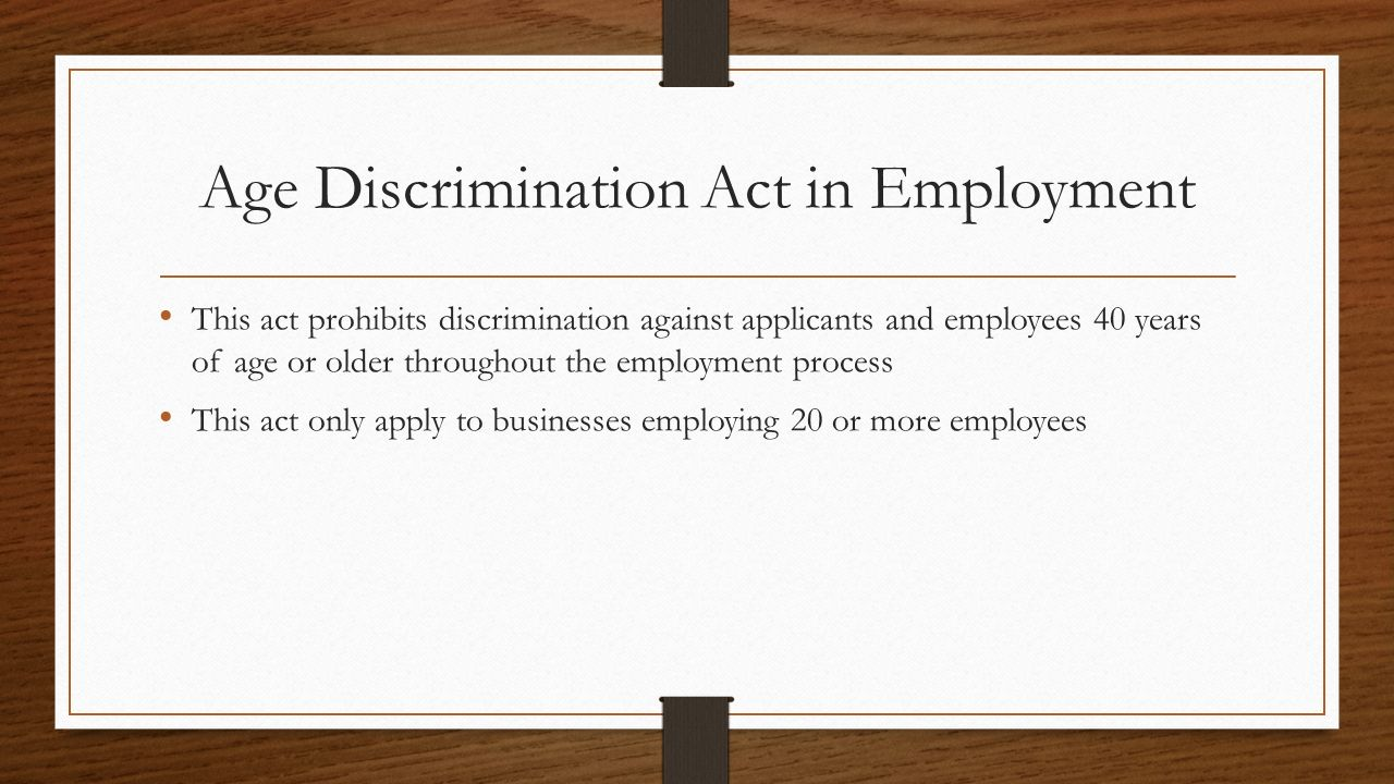 discrimination and the legal process Discrimination, but the law has been interpreted to protect victims of pregnancy discrimination additionally, the equal pay act is a federal law that requires that men and.