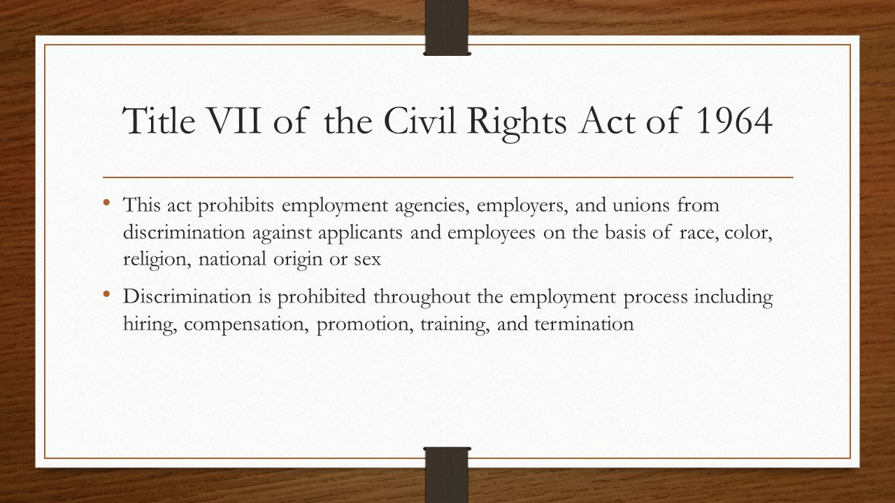 an analysis of the title vii of the civil rights act of 1964 The civil rights act of 1964 hastened the end of legal jim crow  title vii of the  civil rights act, which barred employment discrimination based on sex as well.