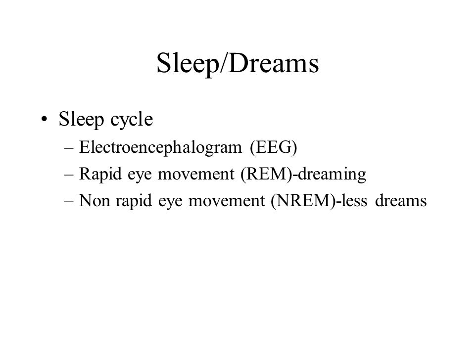 Sleep/Dreams Sleep cycle Electroencephalogram (EEG)