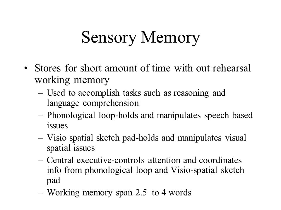 Sensory Memory Stores for short amount of time with out rehearsal working memory.