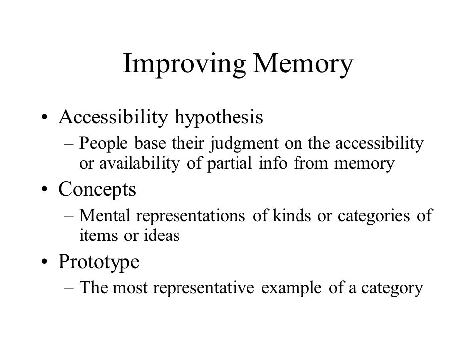 Improving Memory Accessibility hypothesis Concepts Prototype