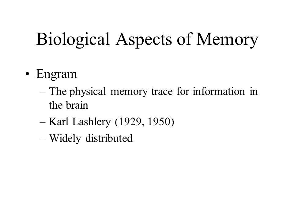 Biological Aspects of Memory