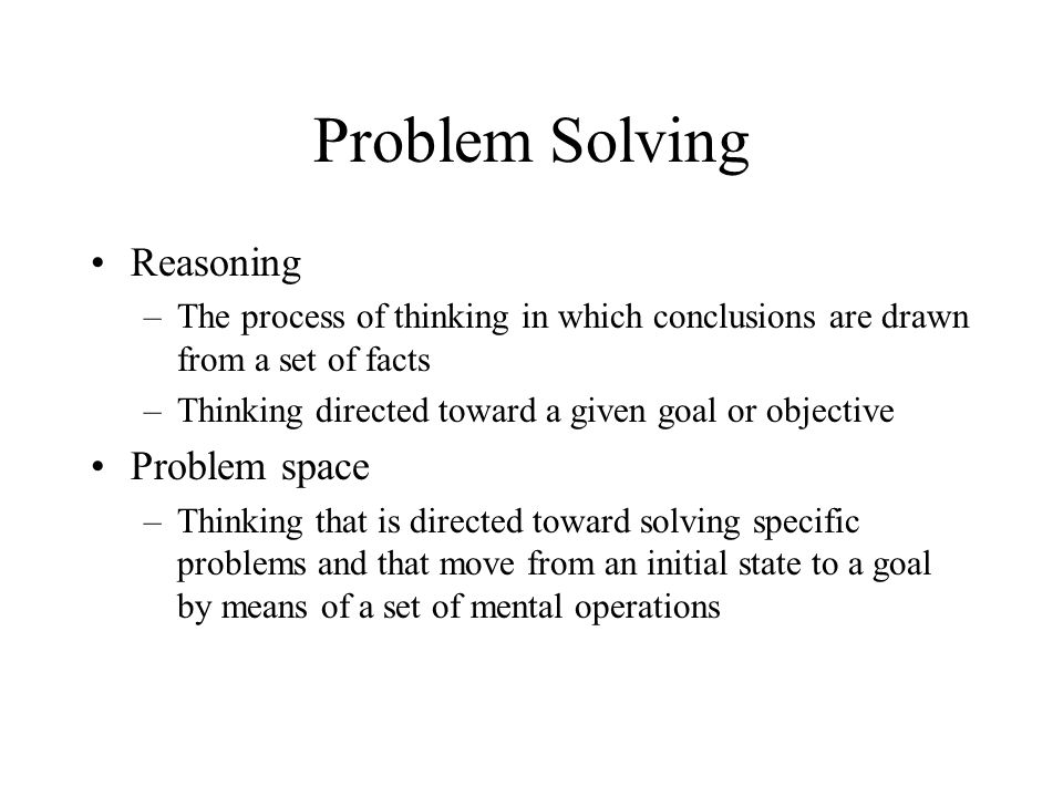 Problem Solving Reasoning Problem space