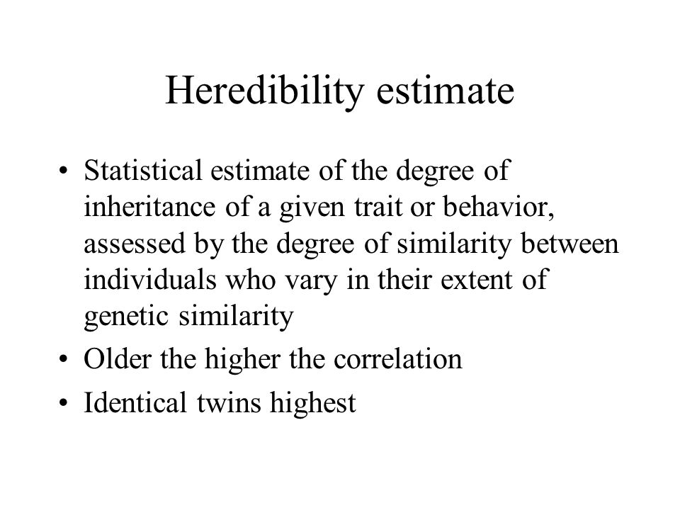 Heredibility estimate