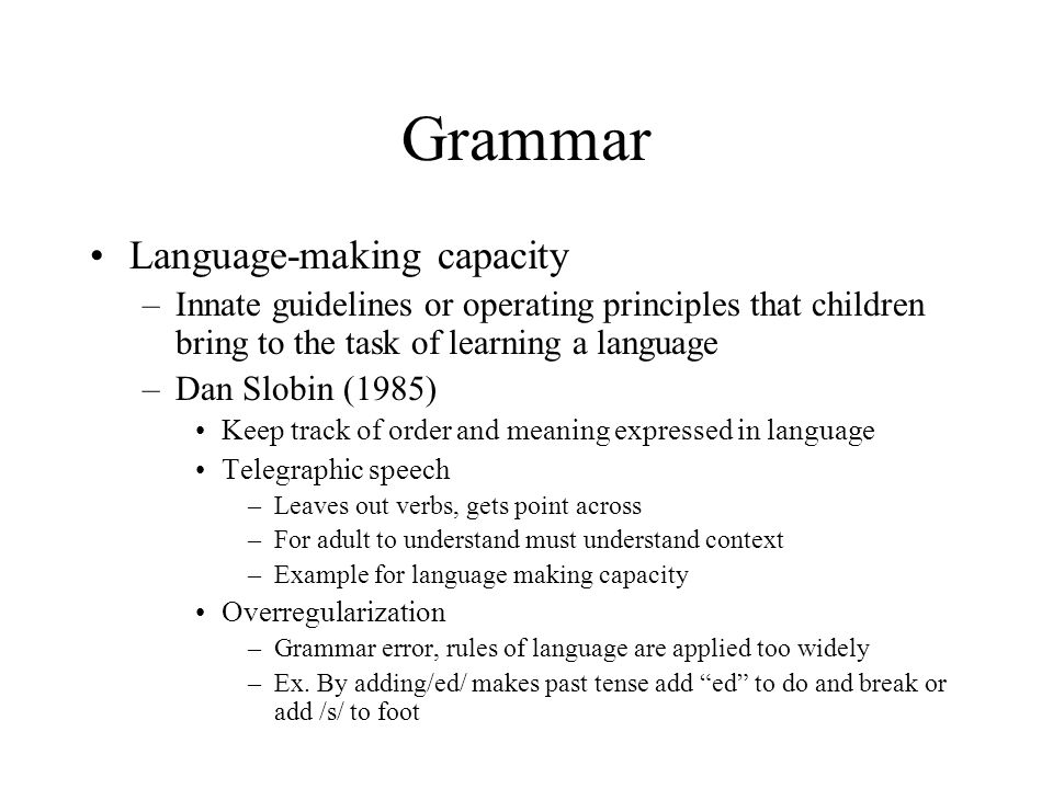 Grammar Language-making capacity