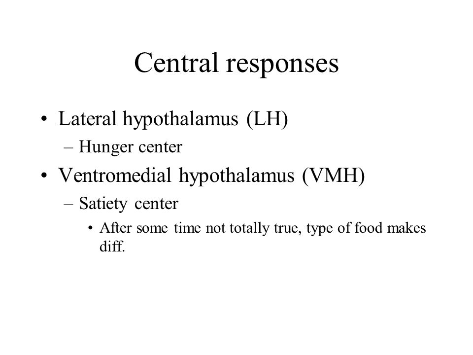 Central responses Lateral hypothalamus (LH)