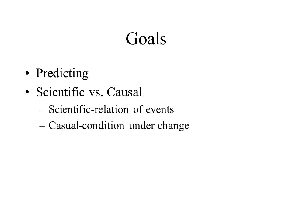 Goals Predicting Scientific vs. Causal Scientific-relation of events