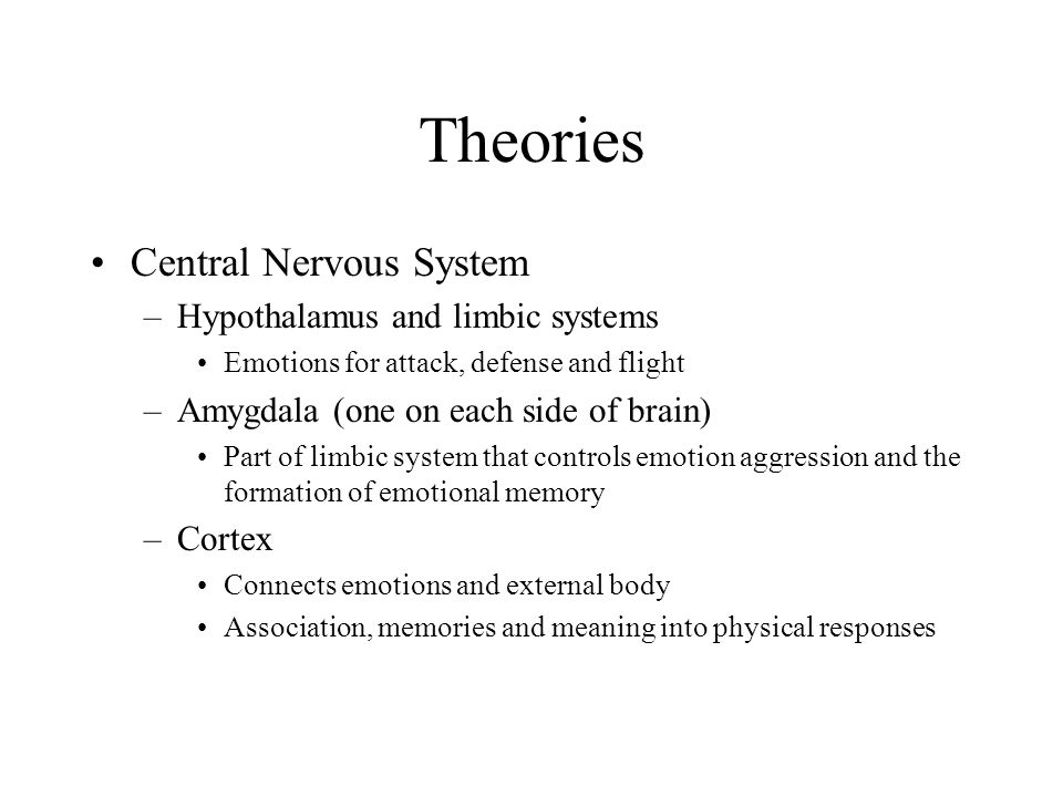 Theories Central Nervous System Hypothalamus and limbic systems