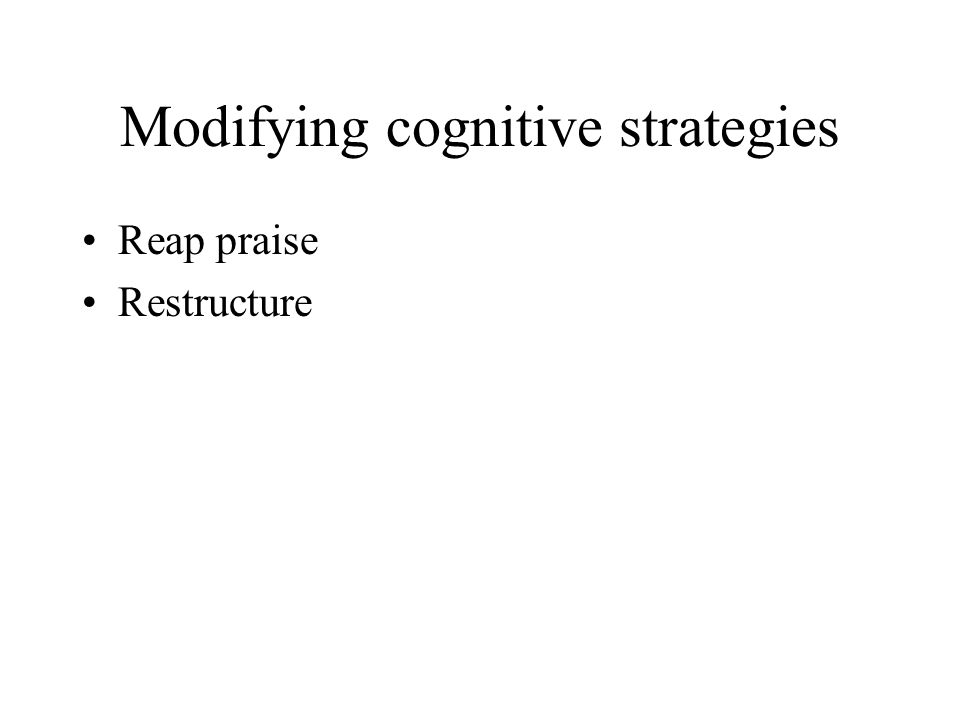 Modifying cognitive strategies