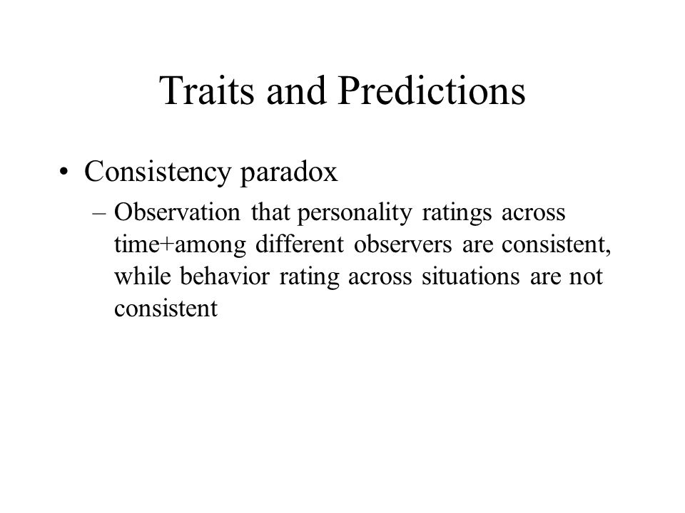 Traits and Predictions