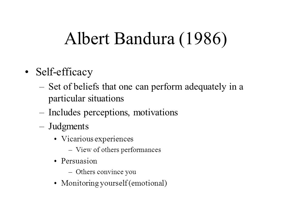 Albert Bandura (1986) Self-efficacy