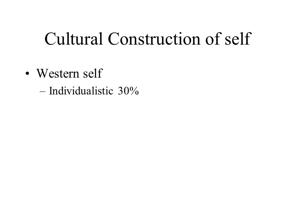 Cultural Construction of self