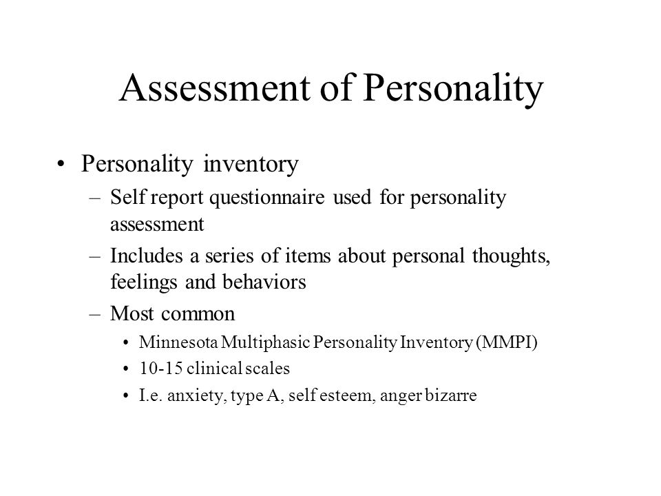 Assessment of Personality