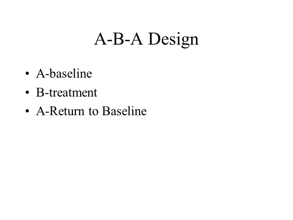 A-B-A Design A-baseline B-treatment A-Return to Baseline