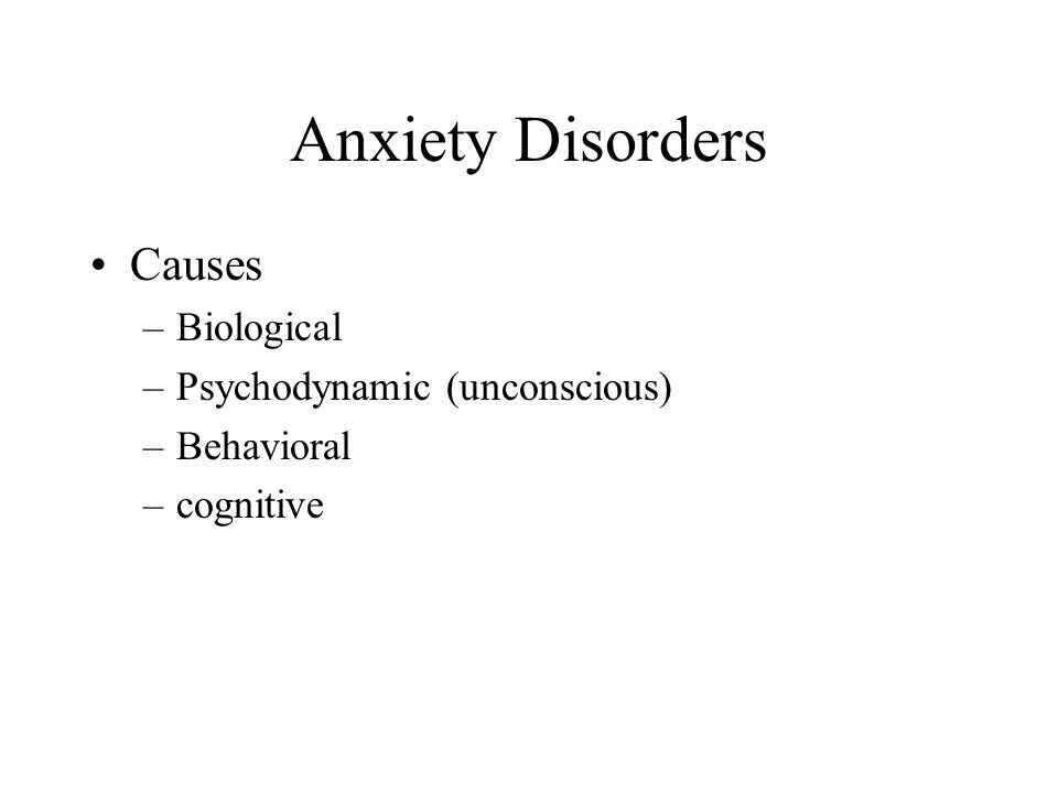 Anxiety Disorders Causes Biological Psychodynamic (unconscious)