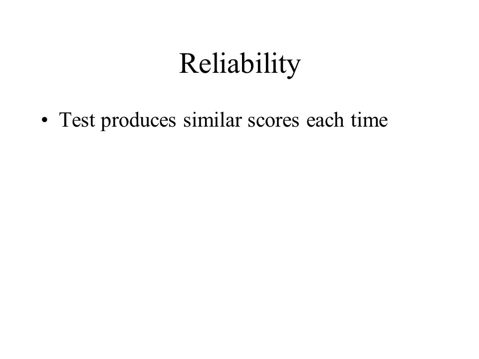 Reliability Test produces similar scores each time