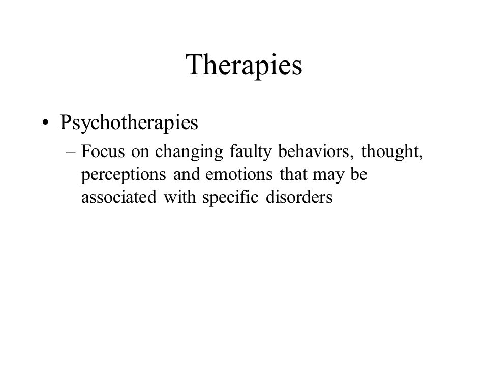 Therapies Psychotherapies