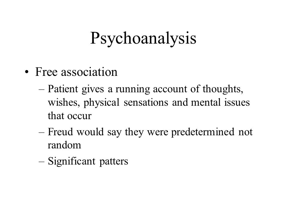 Psychoanalysis Free association