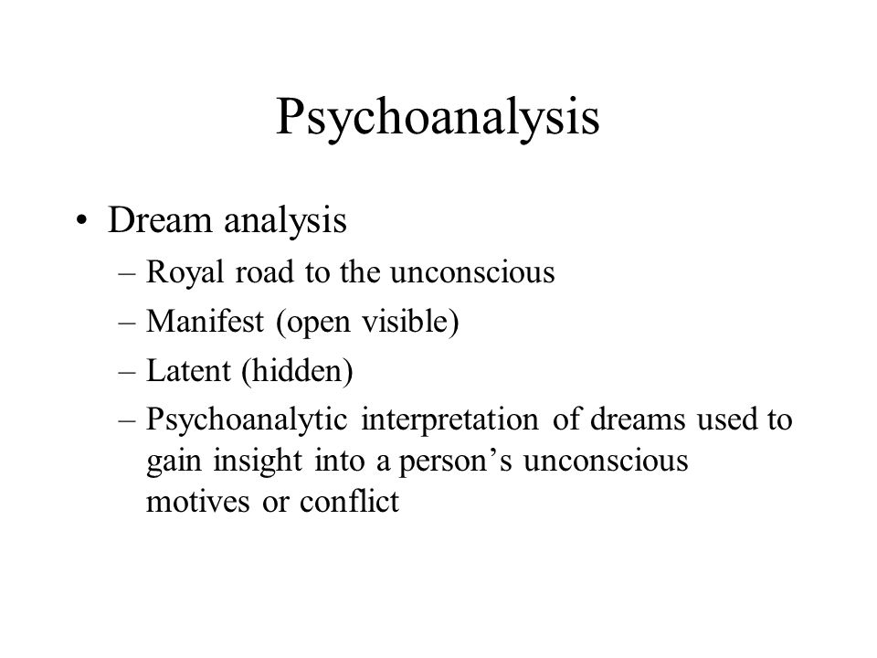 Psychoanalysis Dream analysis Royal road to the unconscious