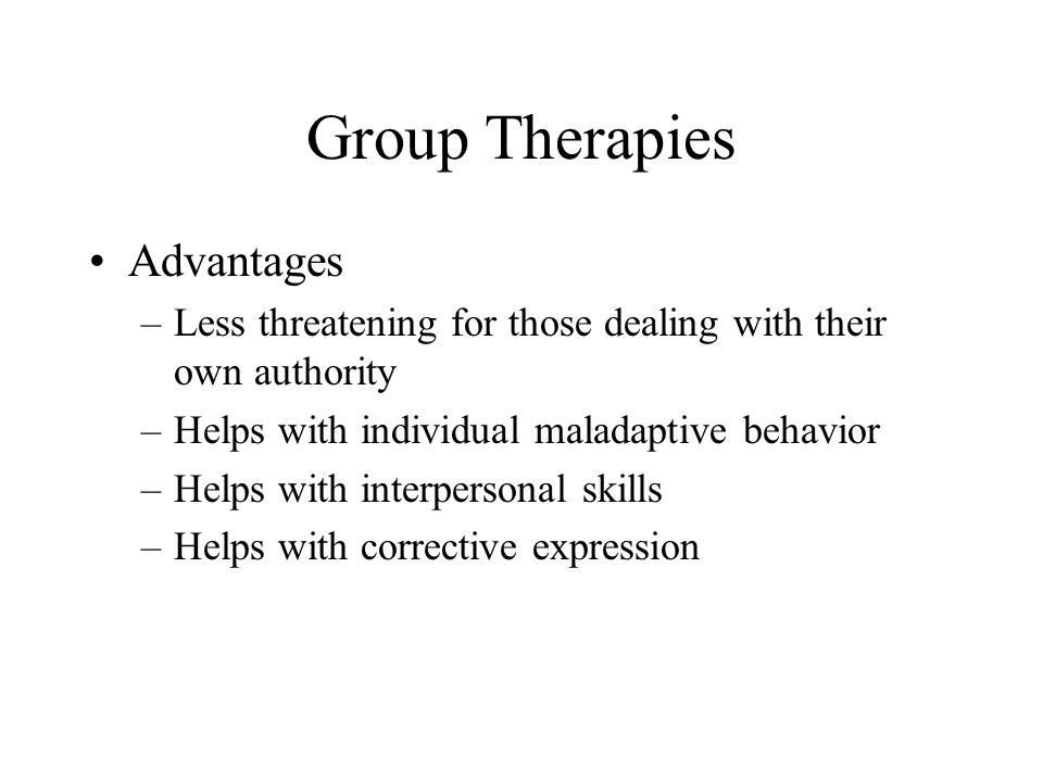Group Therapies Advantages