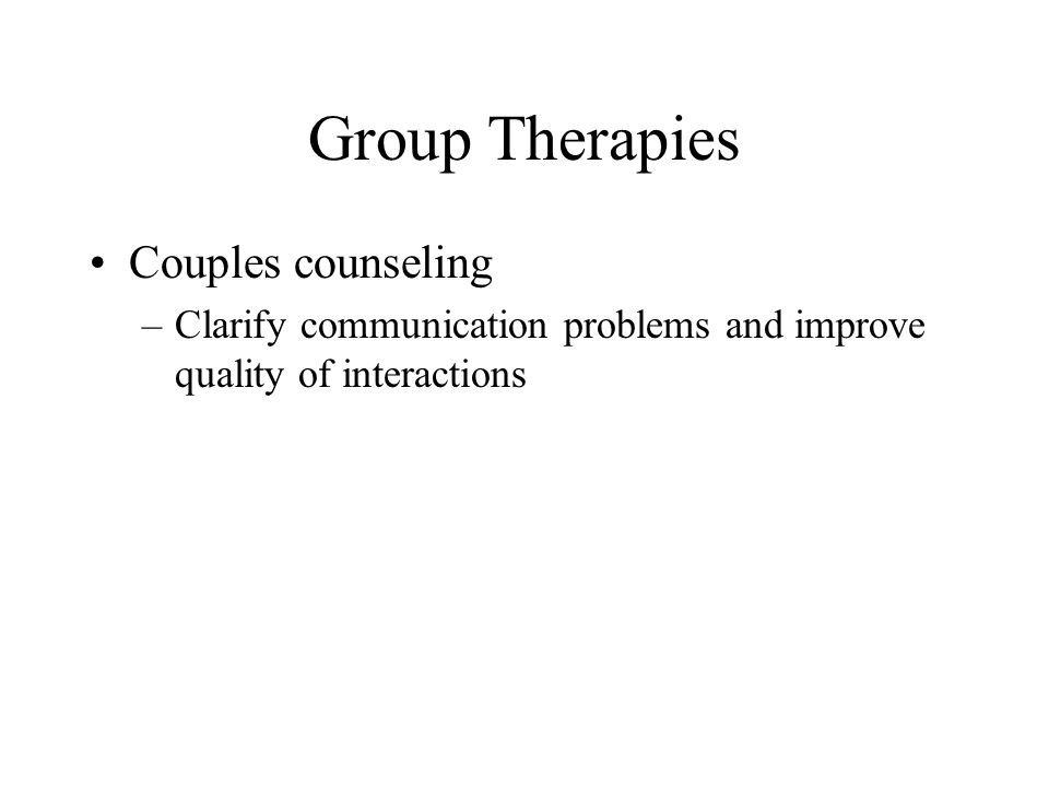 Group Therapies Couples counseling