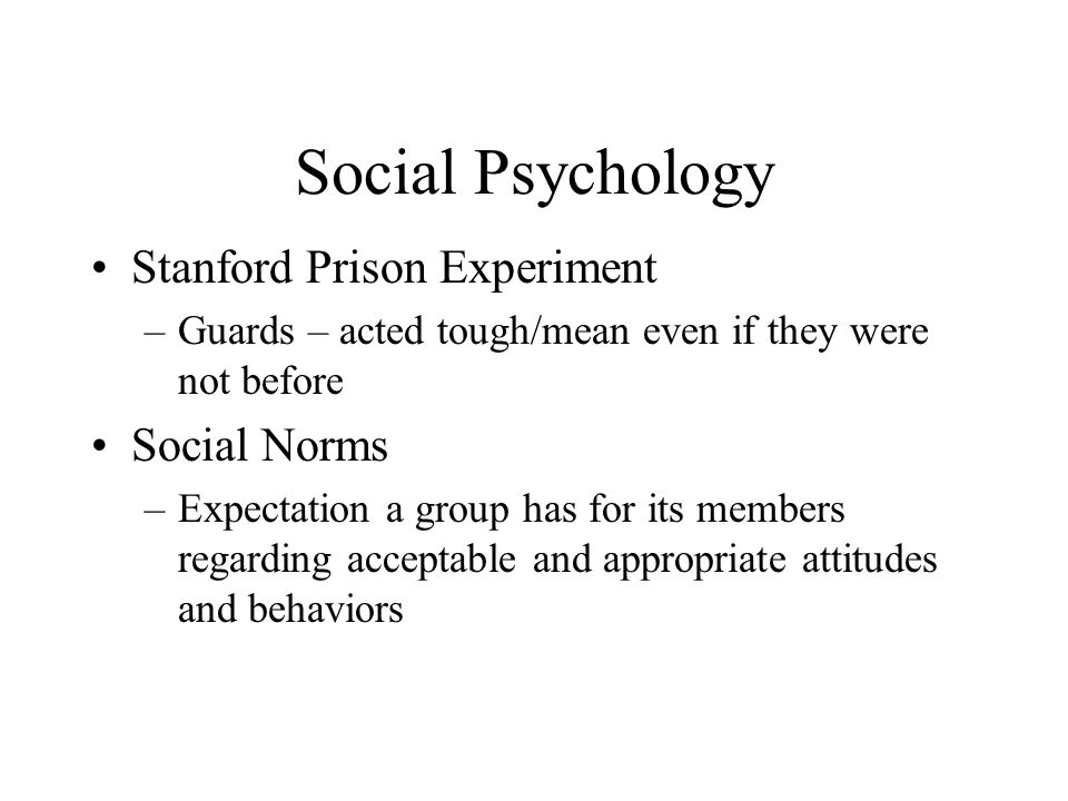 Social Psychology Stanford Prison Experiment Social Norms