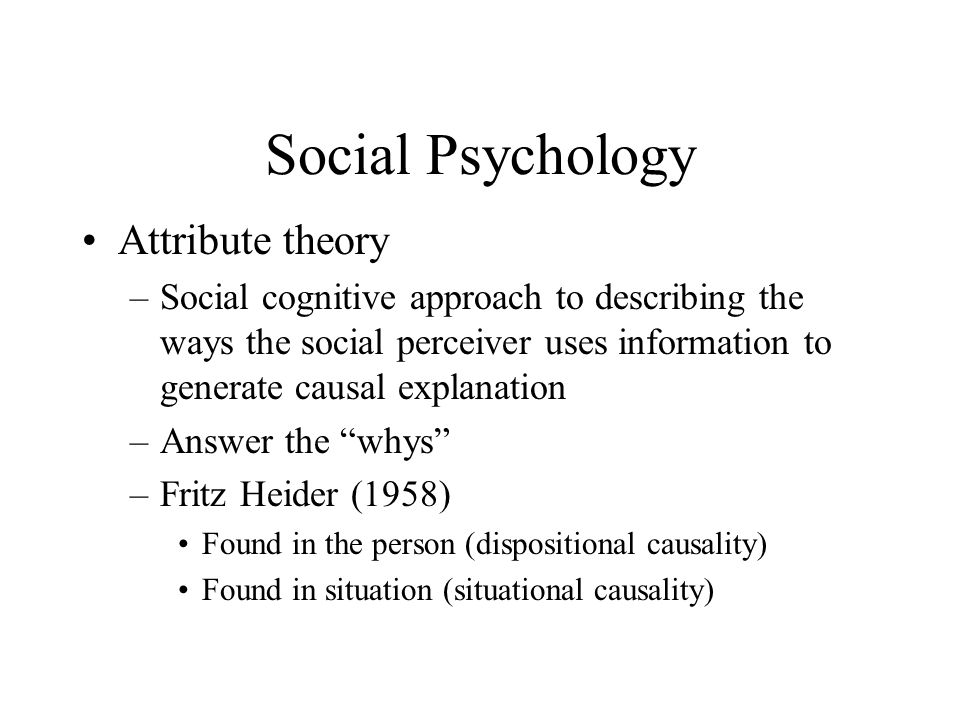 Social Psychology Attribute theory