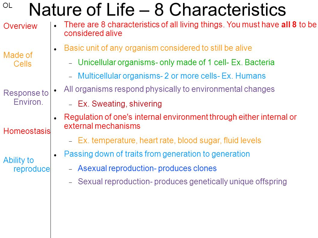 Nature of Life – 8 Characteristics - ppt download