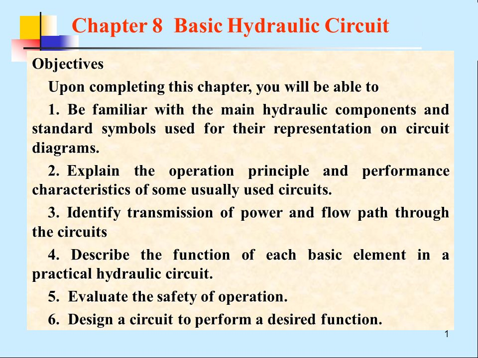 Hydraulic Circuit Diagrams | Chapter 8 Basic Hydraulic Circuit Ppt Video Online Download