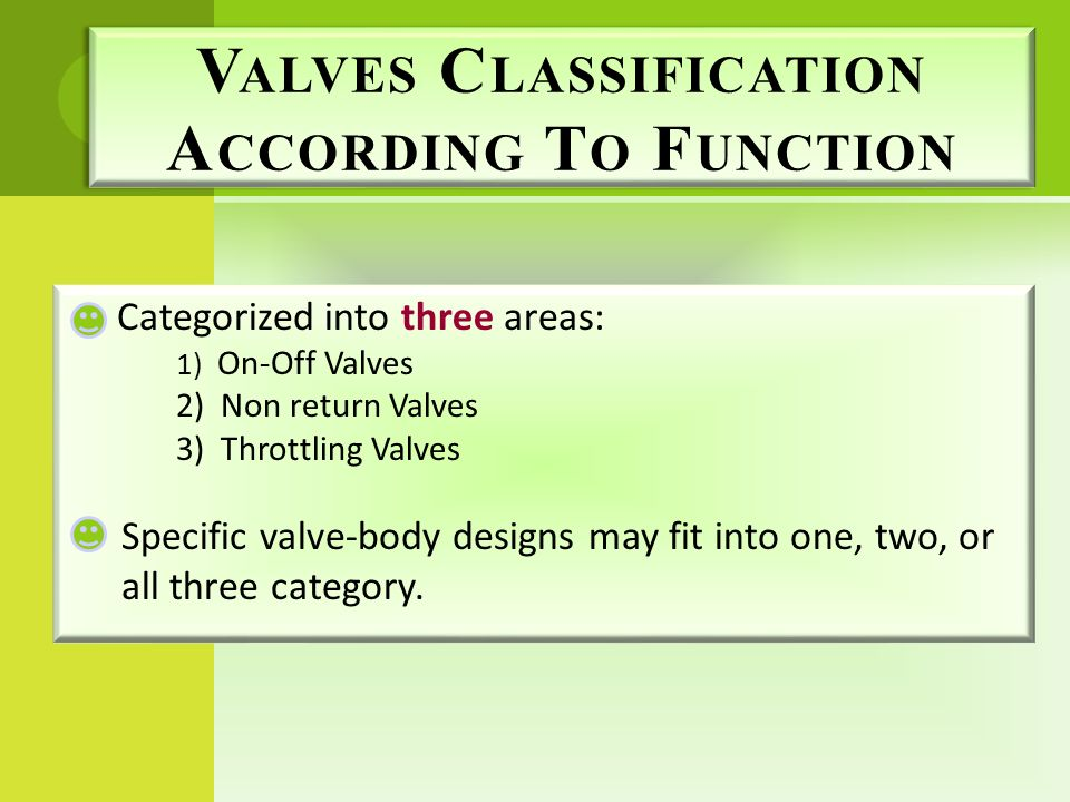 Valves Classification According To Function