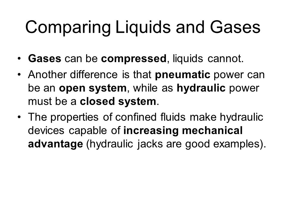 Comparing Liquids and Gases