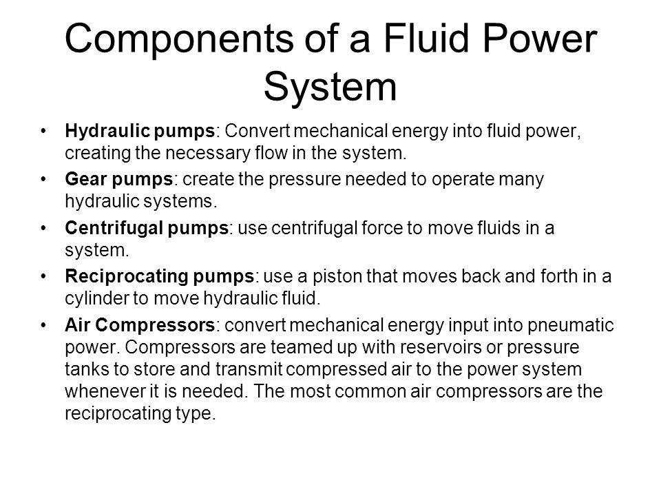 Components of a Fluid Power System