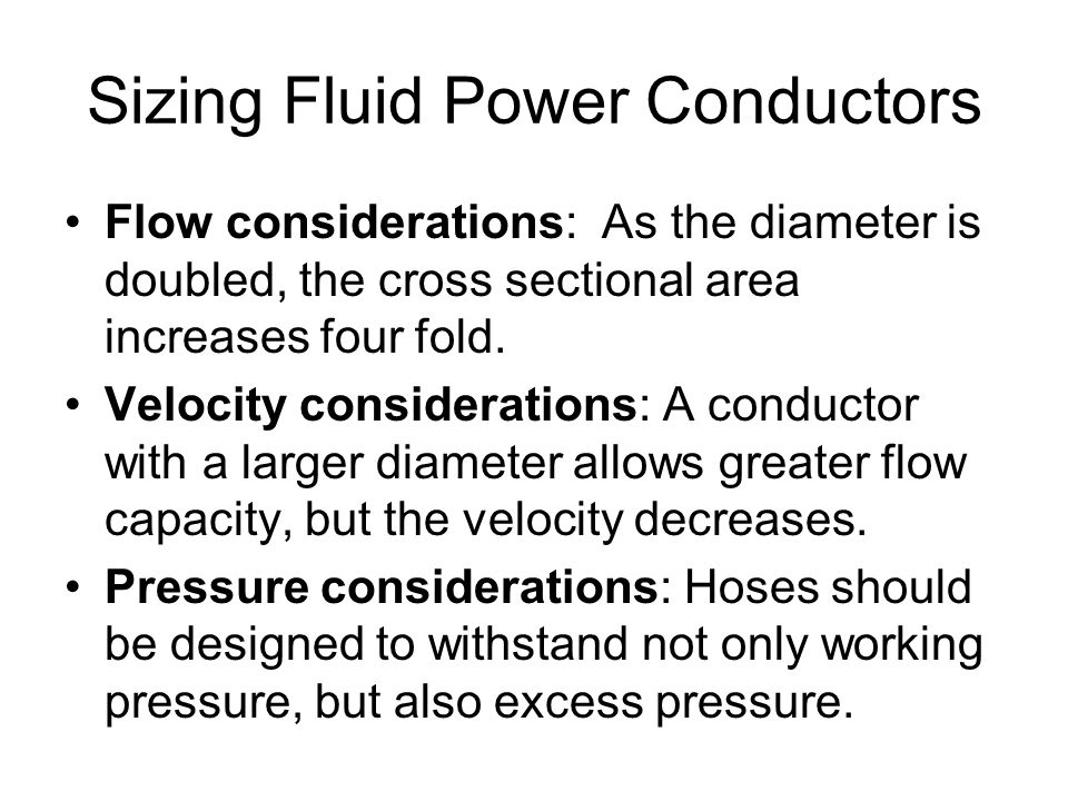 Sizing Fluid Power Conductors