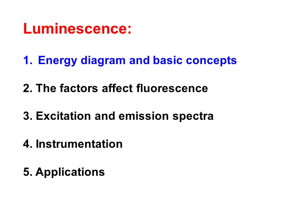 Luminescence: Energy diagram and basic concepts