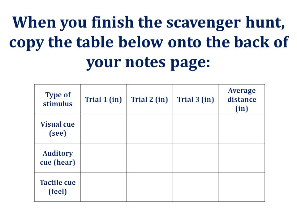 When you finish the scavenger hunt, copy the table below onto the back of your notes page:
