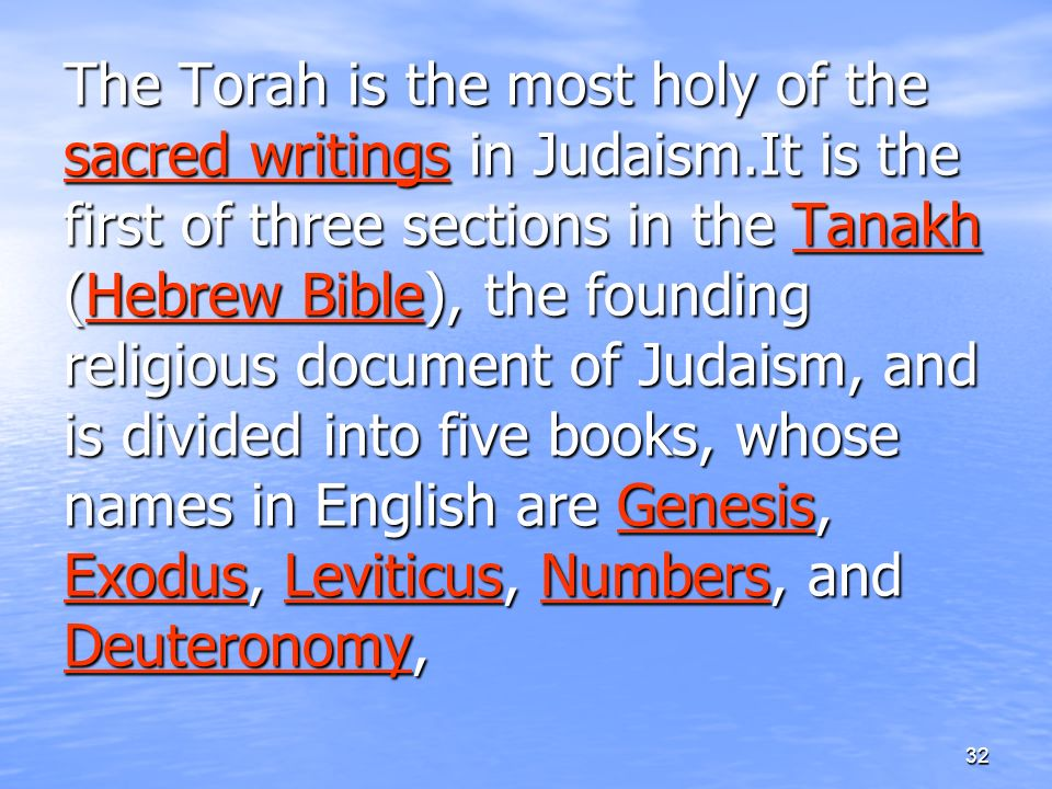 sacred writings of judaism The importance of judaism's sacred texts extends far beyond  at the basis of all jewish sacred texts is  which are included among the jewish sacred writings.