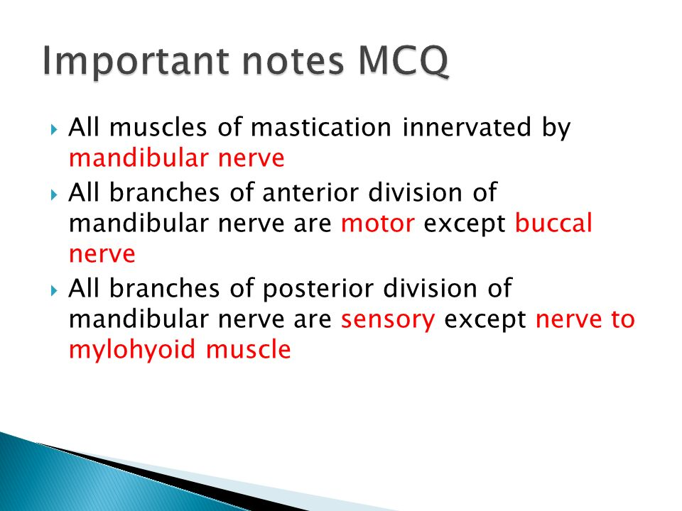 Important notes MCQ All muscles of mastication innervated by mandibular nerve.