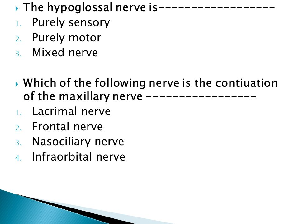 The hypoglossal nerve is