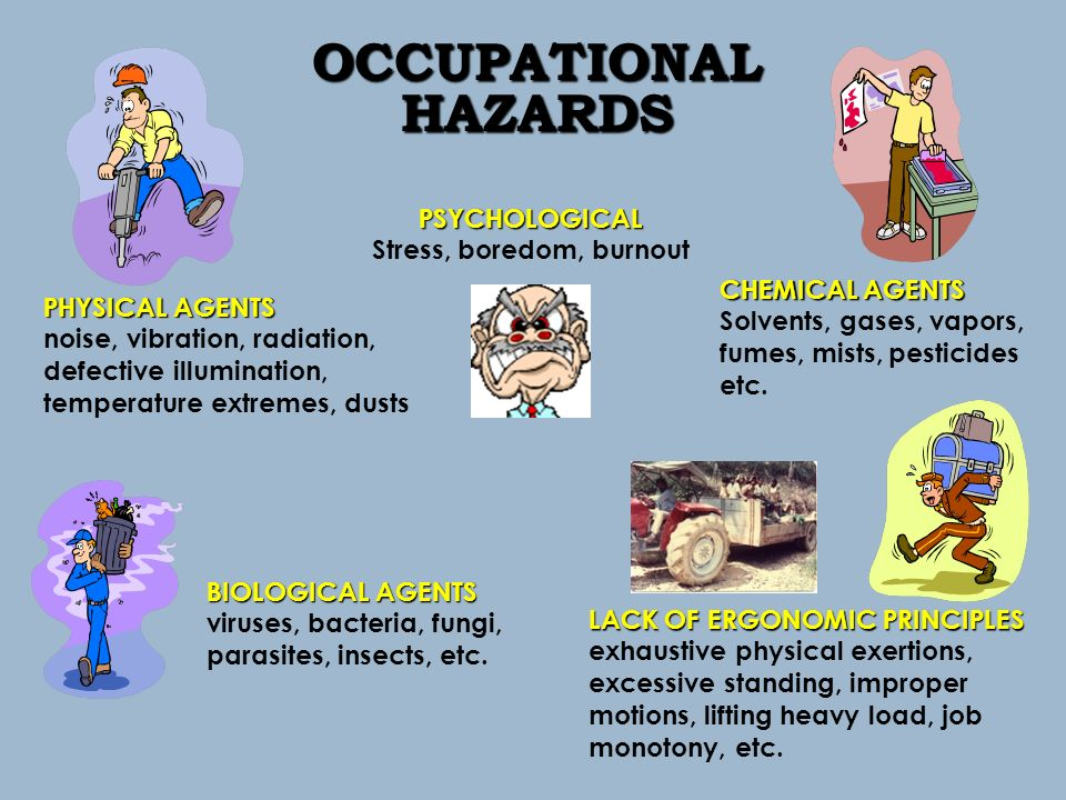 occupational hazard Occupational hazard (plural occupational hazards) a substantial risk to a worker's physical or mental well-being which is present in a certain task, job, or profession 1984, richard lacayo et al, show business: audiences love to hate them, time, 9 july.