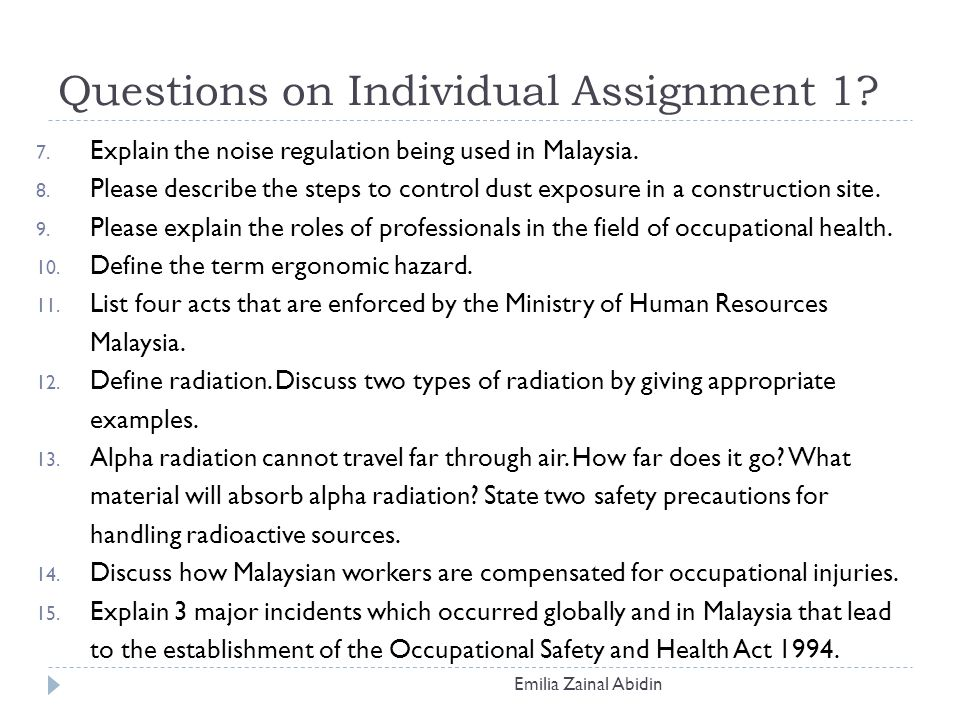 """occupational health and safety questions The national institute for occupational safety and health initiated an  these  two activities addressed two research questions: (1) """"how do workers view their."""