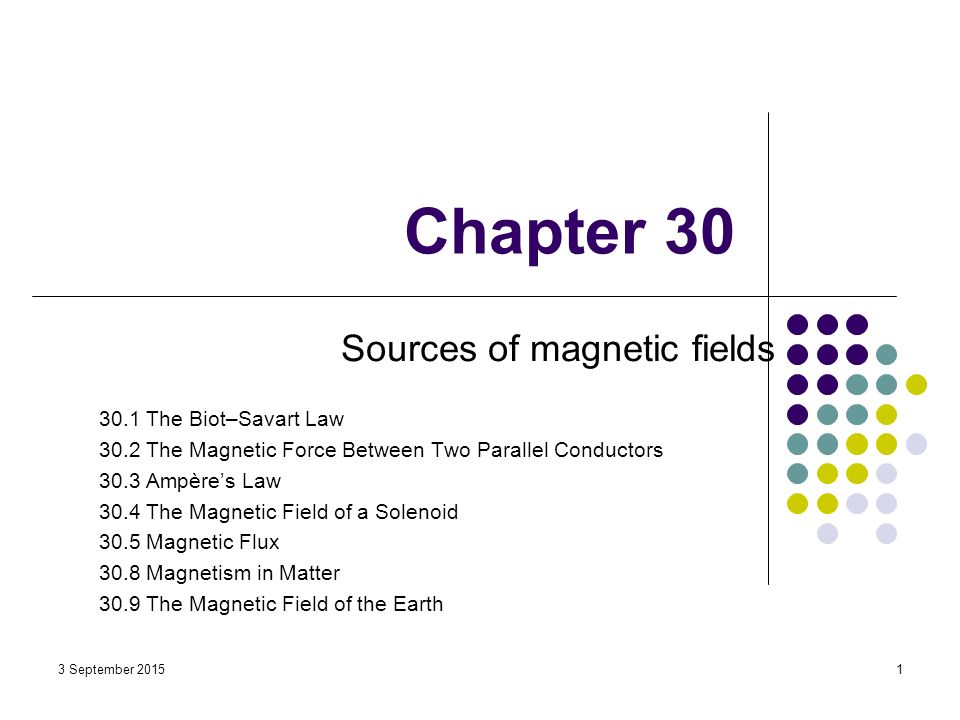 Chapter 30 Sources of magnetic fields 30 1 The Biot–Savart Law
