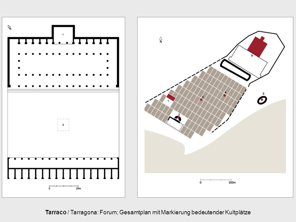 Tarraco / Tarragona: Forum; Gesamtplan mit Markierung bedeutender Kultplätze