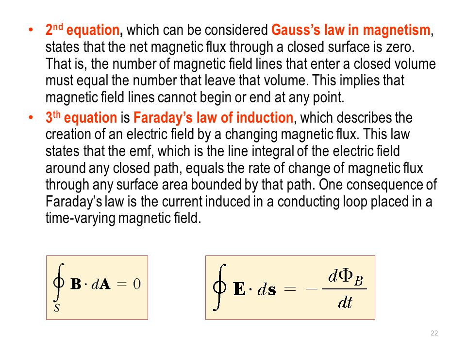 an examination of the equation form of faradays law 31-3 (sjp, phys 1120) faraday's law: the induced emf in any loop is emf = - dφ/ dt  (φ is magnetic flux, t is time, this is the rate of change of flux through an area) • if you put a loop into a b field, and then change the flux through that loop over time, there will be an emf (basically, a voltage difference) induced.