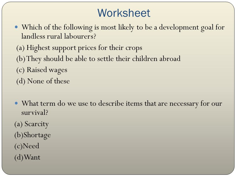 Class X Chapter 1 Development ppt video online download – Scarcity Worksheet